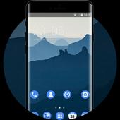Theme for nokia7 deep blue mountain wallpaper icon