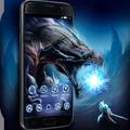 Black Cool Launcher: Fire Monster Dragon Wallpaper