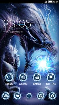 Black Cool Launcher: Fire Monster Dragon Wallpaper poster