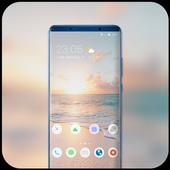 Theme for soft beach sands sunrise wallpaper icon