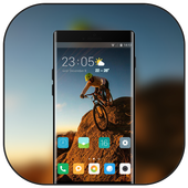 Theme for riding bike on the mountain wallpaper icon