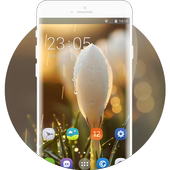 Theme for white flower water drop wallpaper icon