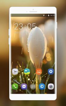Theme for white flower water drop wallpaper poster