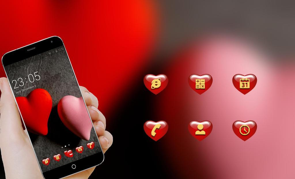 Red Heart Love Theme Romantic Wallpaper Hd For Android Apk