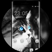 Pet animal theme wallpaper cat eyes blue black icon