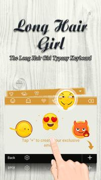 Long Hair Girl Theme&Emoji Keyboard apk screenshot