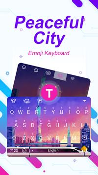 Peaceful City Theme&Emoji Keyboard poster