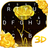 3D Gold Rose icon