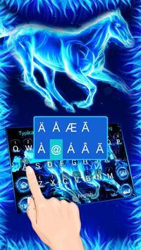 Blue Flaming Horse Keyboard Theme screenshot 1
