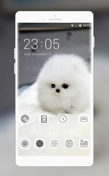 cute white hairy puppy pet theme poster
