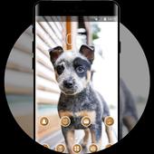 bright cute puppy pet theme icon