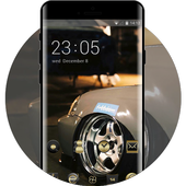 Gold metal texture racing car cool theme icon