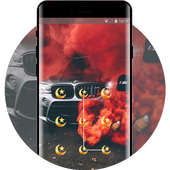 Red smoke covered racing car theme icon