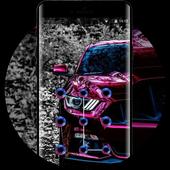 Purple cool crystal sports racing car theme icon