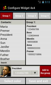 Contact Widget (4 groups) apk screenshot