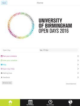 UoB Open Day Application 2016 apk screenshot