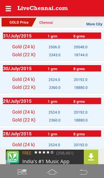 Live Chennai Gold rate / price poster