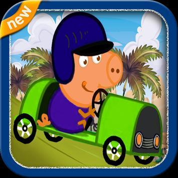 Pep Pig Pink Car poster
