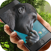 Monkey in phone icon