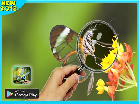 magnifying glass microscope + flashlight app poster