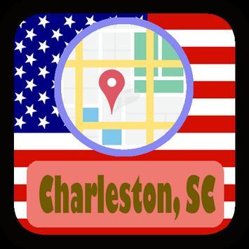 USA Charleston SC City Maps poster