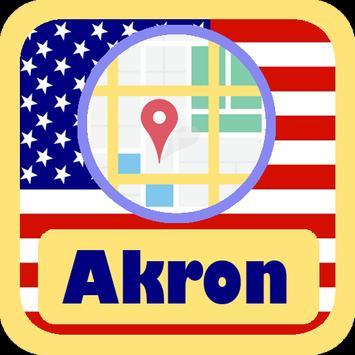 USA Akron City Maps poster