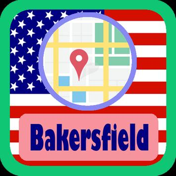 USA Bakersfield City Maps poster