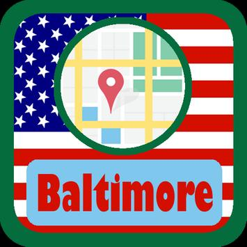 USA Baltimore City Maps poster