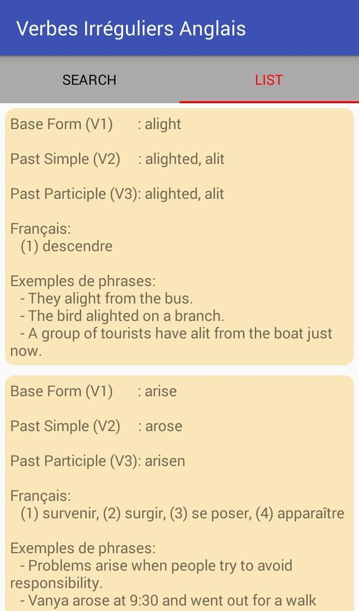 Apprendre Les Verbes Irreguliers Anglais For Android Apk Download