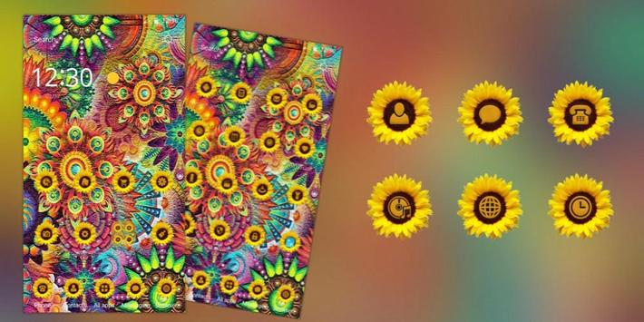 Abstract Varicolored Sunflower Relief Theme screenshot 3
