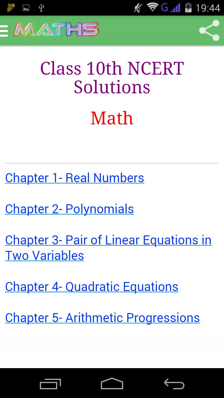 Class 10 Maths Solutions for Android - APK Download