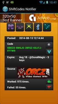 Shift Code Notifier apk screenshot