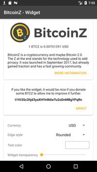 BitcoinZ Price Widget screenshot 2