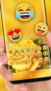 Yellow Flower HD Keyboard Love Rose Theme screenshot 1