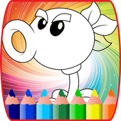 coloring book for zombie and plats coloring page icon
