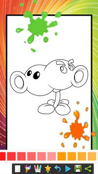 coloring book for zombie and plats coloring page poster