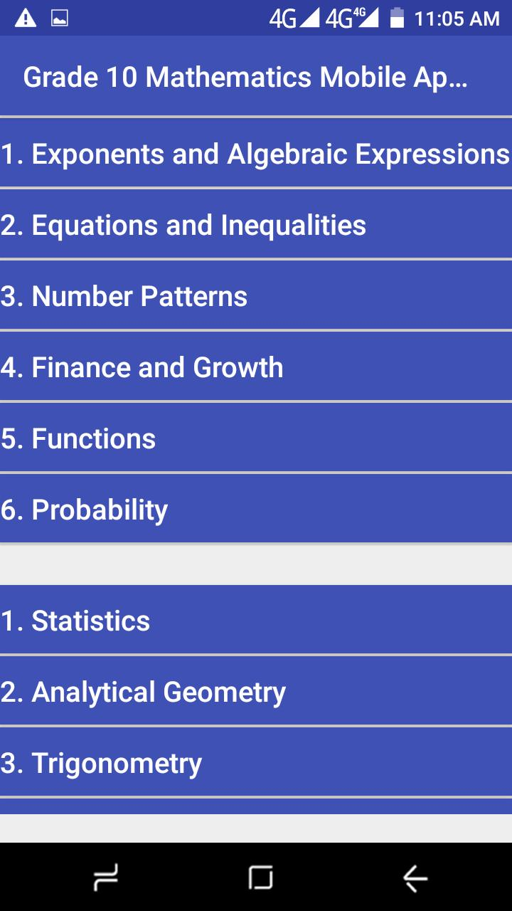 Grade 10 Mathematics Mobile Application for Android - APK