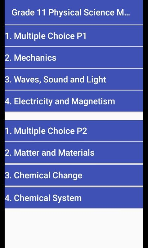 Grade 11 Physical Science Mobile Application for Android