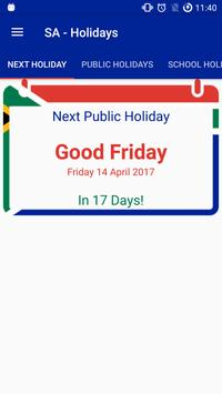 SA - Holidays (Public+School) poster