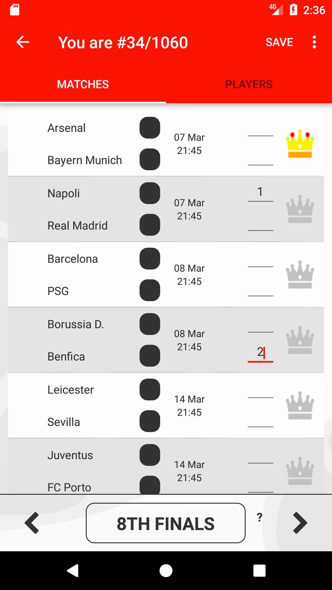 Score Predictor Game  Uefa Champions League Season for