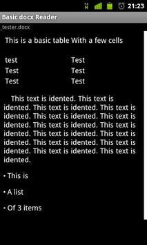 Basic docx Reader screenshot 1