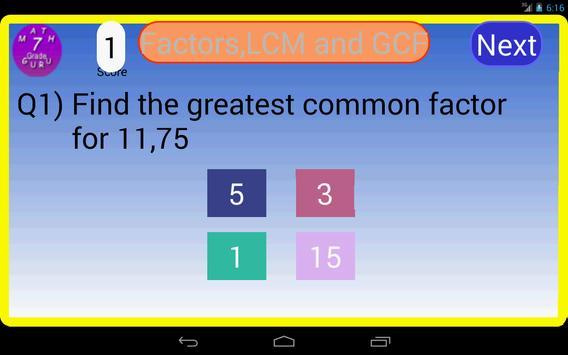 Seventh Grade Kids Math Guru-L screenshot 7