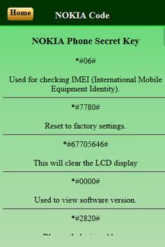 Mobiles Secret Codes of NOKIA screenshot 2
