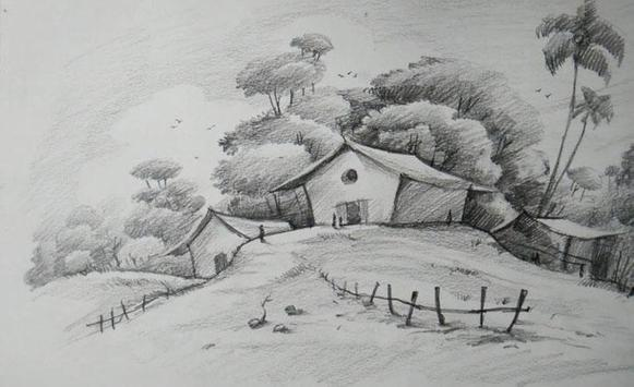 New Drawing Scenery Sketch poster