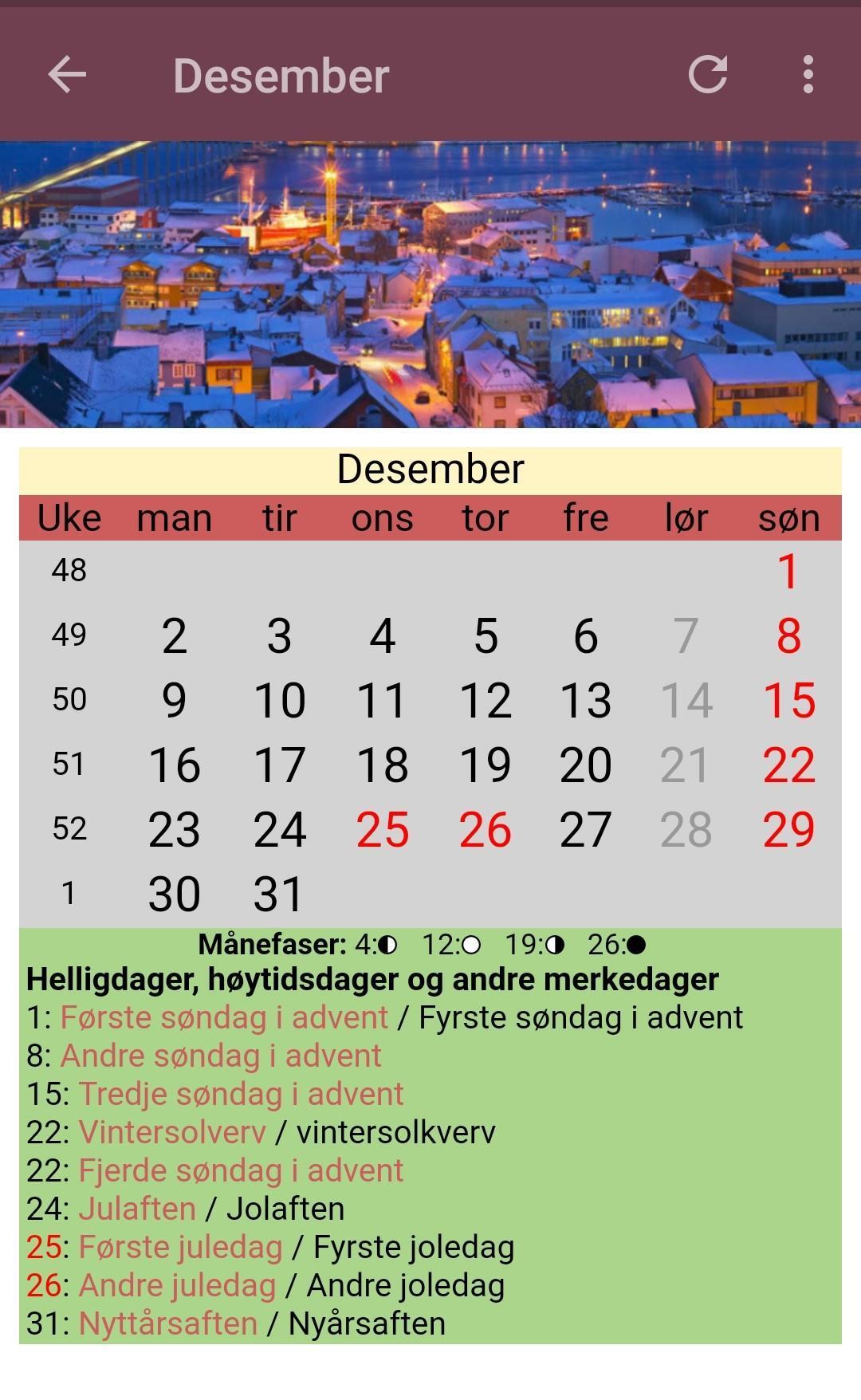 Norske kalender 2019
