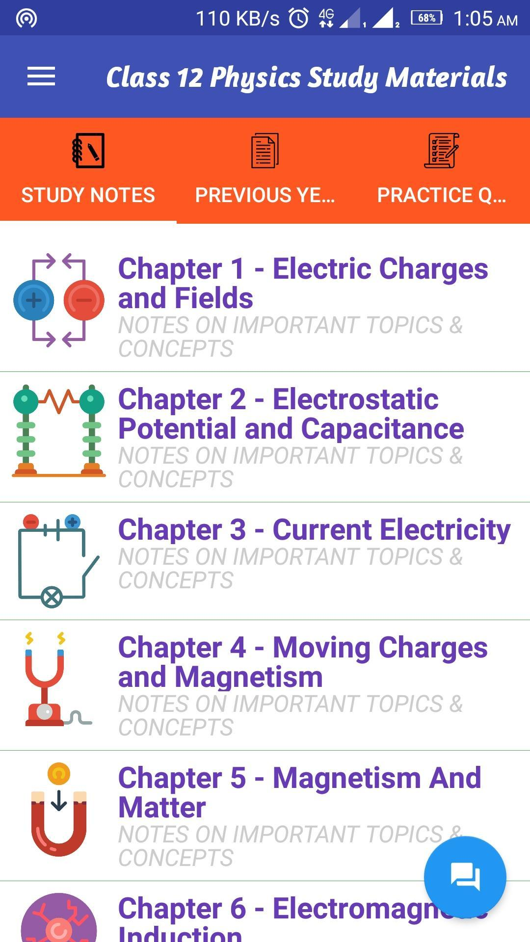 Class 12 Physics Study Materials & Notes 2018-19 for Android - APK