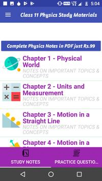 Class 11 Physics Study Materials & Notes 2019 poster