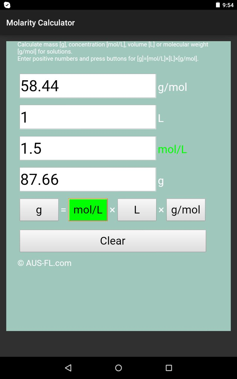 Molarity Calculator for Android - APK Download