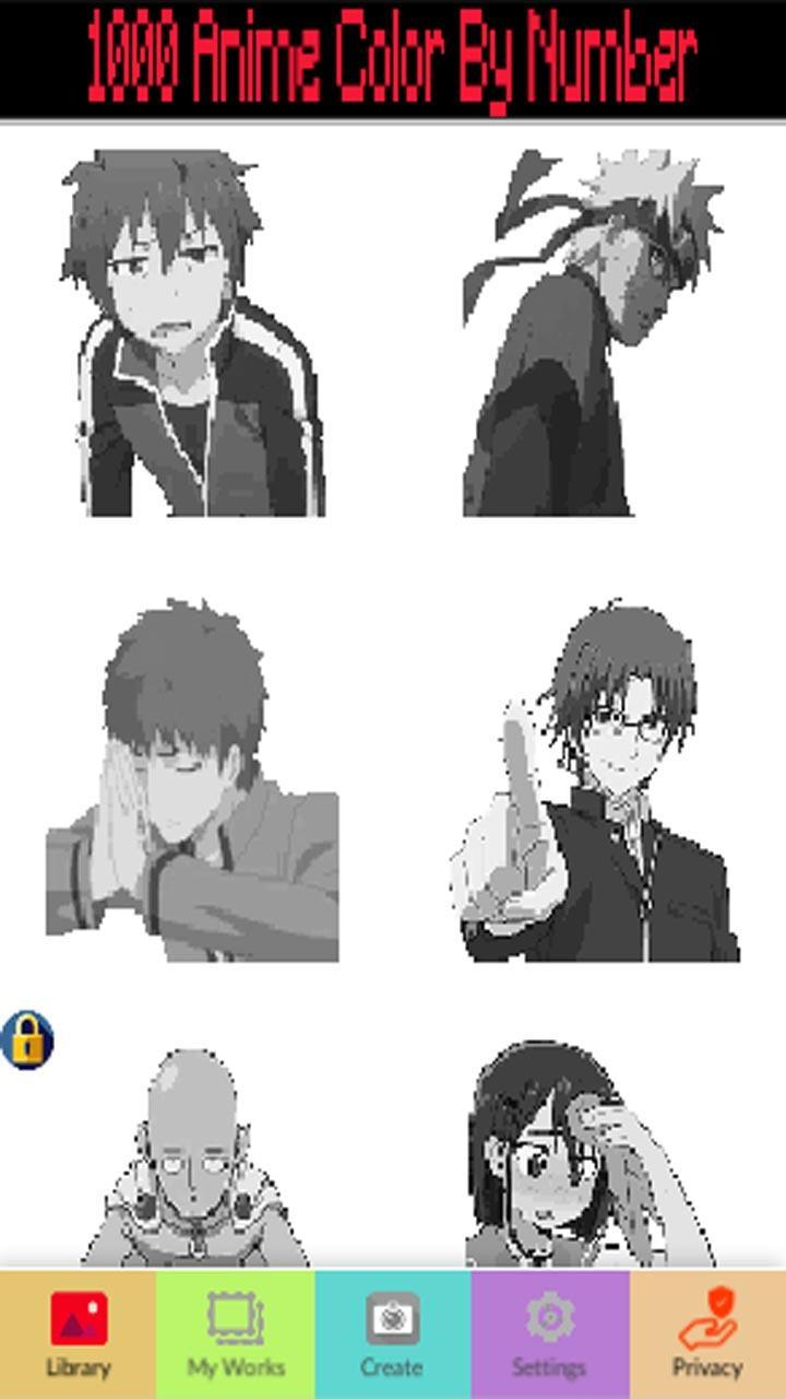 1000 anime manga color by number pixel art for android