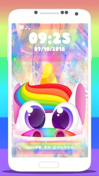 🦄 Rainbow Unicorn Wallpaper Lock Screen App 🦄 poster